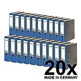 Original Falken 20er Pack Recycling-Ordner Wolkenmarmor. Made in Germany. 8 cm breit DIN A4 blauer Rücken Ringordner Aktenordner Briefordner Büroordner Pappordner Blauer Engel
