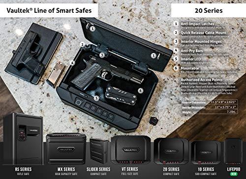 Vaultek VT20i Biometric Handgun Safe Bluetooth Smart Pistol Safe with Auto-Open Lid and Rechargeable Battery (Black)