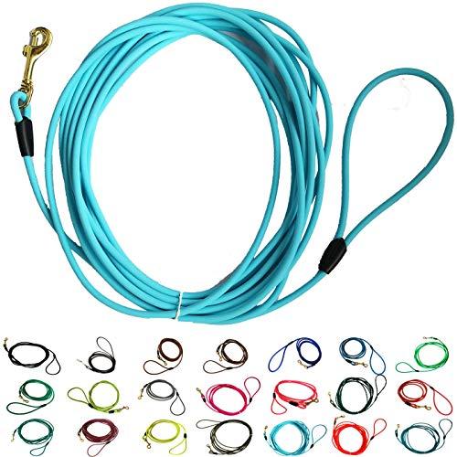 bio-leine Schleppleine aus runder Biothane | 3-20 Meter Länge | 20 Farben, Ø 6 mm, für kleine und große Hunde, schmutz- und Wasserabweisende Hundeleine Schleppleinen, 5 Meter - Babyblau