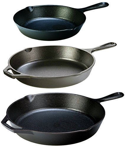 Lodge 8-Inch, 10.25 Inch, and 12-Inch Cast Iron Skillets