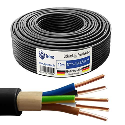 M&G Techno 10m NYY-J 5x2,5 mm² Erdkabel Elektro Strom Kabel Kupfer eindrähtig Made in Germany