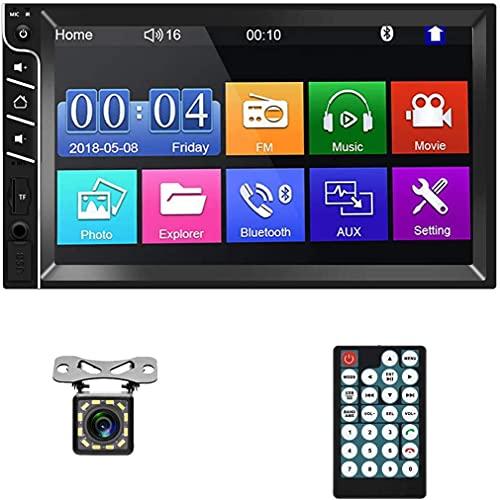Autoradio Bluetooth doppio Din - Autoradio digitale touchscreen da 7' HD con MirrorLink, lettore MP5 con telecamera per retromarcia, radio FM, supporto scheda USB/AUX/TF