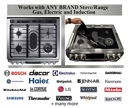 Stove Wrap - New - Stove Top Protector Splatter Guard Value Pack Kit - Fits all Electric Gas Compatible with Samsung GE Whirlpool LG and more, Free Oven Liner plus large Multipurpose liner included