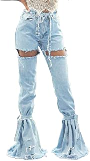 Women Bell Bottom Jeans Elastic Waist Ripped Flared Bandage Splicing Jean Destroyed Raw Hem Denim Pants