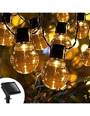Aigostar-Led-lichtsnoer op zonne-energie,20LED Bulbs Solar Tuin Verlichting,Waterproof Lichtketting voor Buiten, Balkon, Tuin, Party, Kerst, Warm Wit