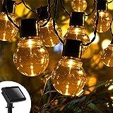 Aigostar - Guirnalda de luz LED solar exterior, 20 bombillas redonda transparente, 5,8 metros, Decoración para exterior con IP44, impermeables. Iluminación LED para decorar fiestas, porches o jardines
