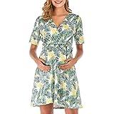 Schwangeren Kleid, Allence Damen Maternity Kleid Kurzarm Chiffon V-Ausschnitt Umstandsmode Wickelkleid Sommerkleid Knielange