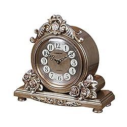 CLOCKZHJI Retro Mantel/Mantle Rhythm Quartz Clock Living Room Desk Shelf Clocks Decoration (Color : Bronze)