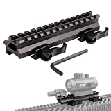 KnightTec Tactical Picatinny Riser Mount Rails Dual 90 y 45 Grados de liberación rápida Detach 13-Slot Medium Profile para Red Dot Scope Optics