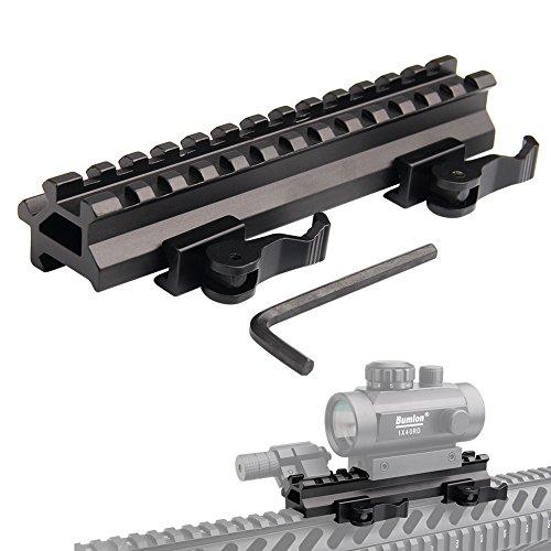 Bumlon Tactical Picatinny Schiene Riser Mount Rails Dual 90 and 45 Degree Quick Release Detach 13-Slot Medium Profile for Leuchtpunktvisier Red Dot Scope Zielfernrohr Ausrüstung Optics