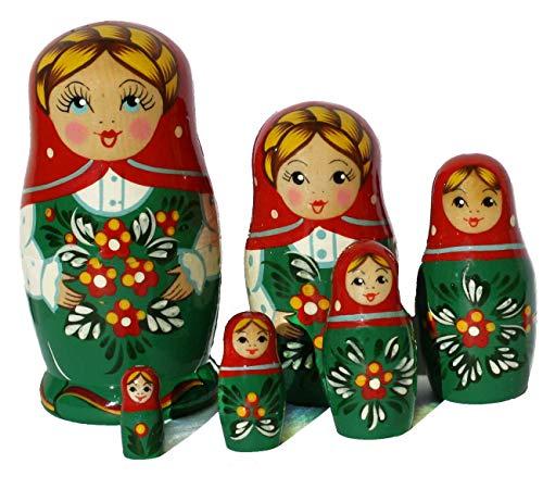 Semenovskay Rospis russische Matroschka Babuschka Matrjoschka Holzpuppen handbemalt Set 6 Puppen Blume (grün-rot)