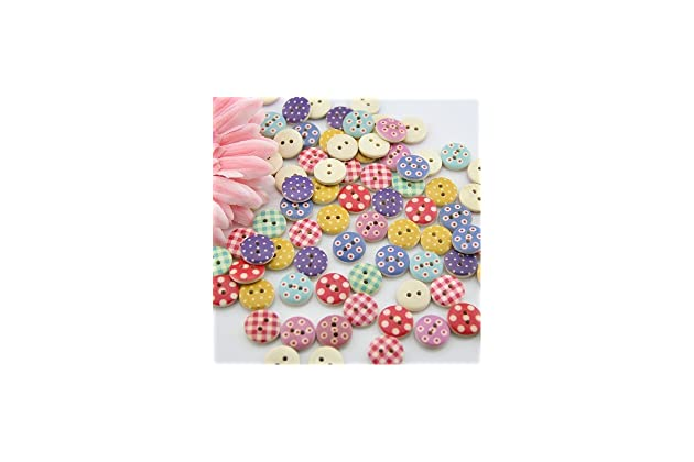 by OOOUSE onesize, Colorful OOOUSE Buttons-Mixed Wood Buttons Sewing Scrapbooking 2 Holes