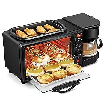 Elitte 3 in 1 Breakfast Maker Coffee Maker Toaster Oven Griddle with 30-Minute Timer Black