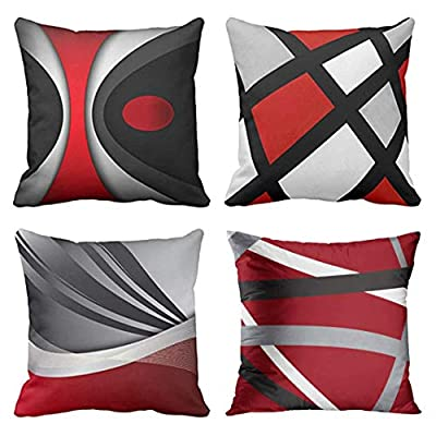 Emvency Set of 4 Throw Pillow Covers Decorative Pillow Cases Home Decor Square 18x18 Inches Pillowcases