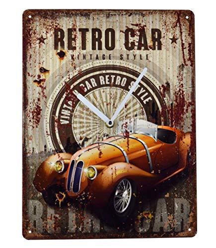 Schmiedegarten Wanduhr Oldtimer - Uhr aus Metall im Vintage Shabby Stil - Blechschild Hängeuhr – Garage Service Retro Car