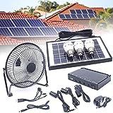 DYRABREST Solar Generator Portable Lighting System Kit, Solar Powered Panel+Fan+3x1W 12V Bulbs