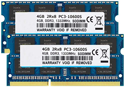 BPX 8GB Kit (2 x 4 GB) 2RX8 PC3-10600S DDR3 1333 MHz SO-DIMM CL9 204 Pin 1.5v Notebook sin búfer de Memoria ECC no Portátil Módulo de RAM Compatible con Intel y AMD Ordenador Mac
