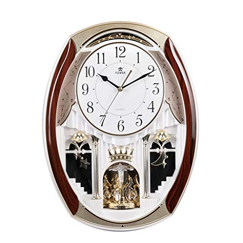 Salon Horloge murale de style européen Horloge pastorale Heure Musique Alarme Horloge murale Ménage Creative Mute Clock