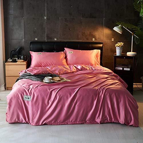 Bedding-LZ bettwäsche Baumwolle 135x200 4 teilig,Reine Farbe Gewaschene Seide-vierteilige Frühlings- und Sommer-Nordic-Wohnheim-Schlafsaal-Einzelbett-K_1,8m Bett (4 Stück)