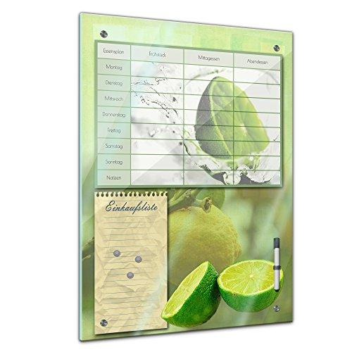 Memoboard 40 x 60 cm, Planer - Limette - Memotafel Pinnwand Essensplaner für die ganze Familie - Frucht - Früchte - Obst - Obstbild - Eis - Wasser - grün - Limone - Zitrusfrucht- Essenplaner
