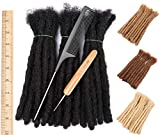 DAIXI 8-10 Inch 30 Strands 100% Real Human Hair Dreadlock Extensions for Man/Women Full Head Handmade 0.8cm-1.2cm Thickness Can Be Dyed and Bleached Dreadlocks Bulk with Needle and Comb (1B Color)