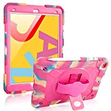 IPad 7th Generation Case iPad 10.2 Case Hybrid Three Layer Armor Shockproof Rugged Drop Protection Cover Built with Kickstand [Pencil Holder] (camo Pink)