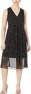 Anne Klein womens V-NECK MIDI DRESS Dress