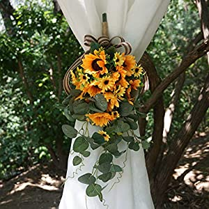 YHNJI 19Inch Artificial Sunflowers Hanging Vines,Sunflower Swag Flower Vine Garland Sunflower Hanging Sunflower Garland for Home Room Wall Pendant Wedding Decor-2Pack