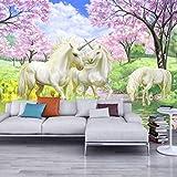 Fondo De Pantalla Mural 3D Unicornio Sueño Cherry Blossom Tv Fondo Imágenes De Pared Para Niños Habitación Dormitorio Sala De Estar Papel Tapiz