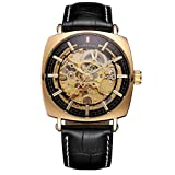 Luxury Watches for Men Mechanical Skeleton Stainless Steel Golden Timepieces Watch (Gold Black)