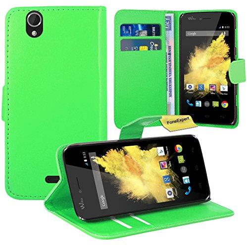 FoneExpert® Wiko Birdy Handy Tasche, Wallet Hülle Flip Cover Hüllen Etui Ledertasche Lederhülle Premium Schutzhülle für Wiko Birdy (Grün)