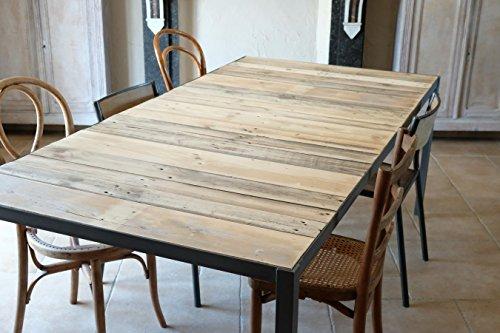 Table de salle à manger industrielle en bois et métal