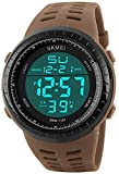 Digital Sports Watch Water Resistant Outdoor Military Watch Easy Read Black Big Face Alarm Watch (Khaki)