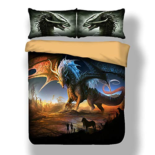 BIANXU Bettwäsche Set 3D Dinosaurier Thema Dinosaurier Muster Druck bettbezug und kissenbezugEinzel 135x200 cm (53 * 78in)