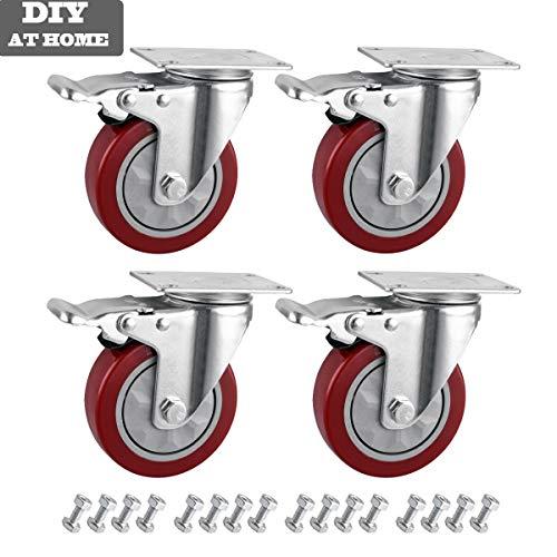 Möbelrollen und Schrauben Lenkrollen mit Bremse Schwerlastrollen 100mm Tragkraft 150kg pro Rolle 4 Stück