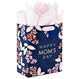 Hallmark 9' Medium Mother's Day Gift Bag with Tissue Paper (Navy Blue with Pink and Orange Flowers)