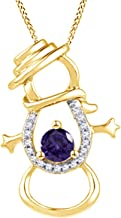 AFFY White Natural Diamond & Simulated Gemstone Snowman Pendant Necklace in14K Yellow Gold Over Sterling Silver