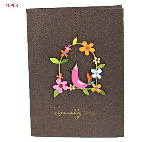 CAIM-Biglietti di auguri Tutte Le Occasioni Retro Creativo con Busta Greeting Card Messaggio Fai da Te Pieghevole Compleanno Christmas Card, Anniversary Card (Color : F)