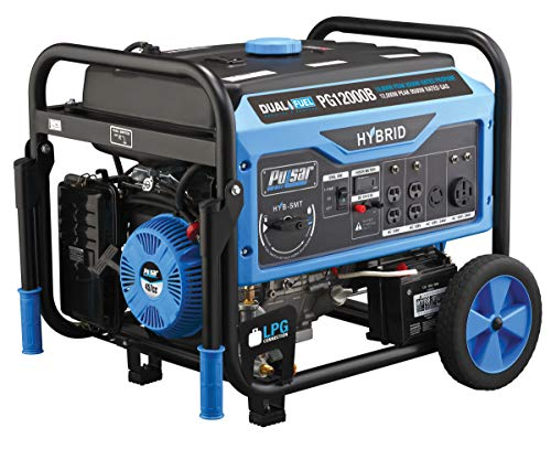 Pulsar 12,000W Dual Fuel Portable Generator with Electric Start and Switch & Go Technology, CARB...