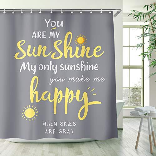 RosieLily You are My Sunshine Duschvorhang Wort Duschvorhang gelb & grau Sunshie Duschvorhänge für Badezimmer gelb Inspiration Zitate Duschvorhang (72 x 78)
