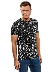 oodji Ultra Hombre Camiseta Estampada de Algodón