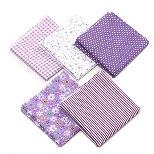 king do way Tessuti Stampati, Set di Stoffa Patchwork per Fatti a Mano, Materiali Tessuti in Cotone per Hobby Creativi/DIY, 50X50CM Purple