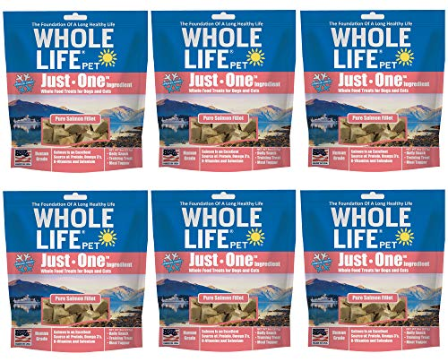 Whole Life Pet Products Healthy Cat and Dog Treats Value Pack, Human-Grade Wild-Caught Salmon, Protein Rich for Training, Picky Eaters, Digestion, Weight Control, Made in The USA, 6 Bags of 8 Ounce