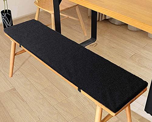 Yoole EU Cojín de banco grueso de 3/5/8 cm, cojines largos para silla, 2 cojines de jardín de 3 plazas, para interiores y exteriores, columpio de patio (negro, 120 x 30 x 3 cm)