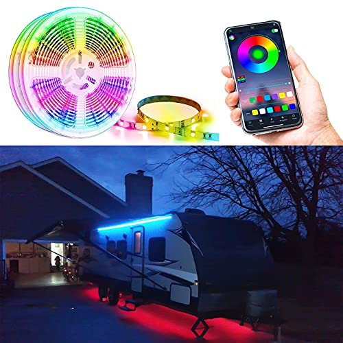 Shyueda RV Camper Motorhome Travel Trailer 16.4' LED Awning Party Light, IP68 Waterproof RV Awning Lights, Mounting Channel