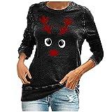 Letdown(TM) Womens Christmas Fleece Pullover Sweatshirts Holiday Vacation Graphic Elk Cartoon Print Casual Loose Tees Tops