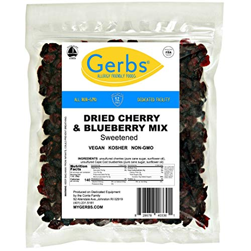 GERBS Dried Cherry, Blueberry Fruit Snack Mix, 64 ounce Bag, Unsulfured, Preservative, Top 14 Food Allergy Free