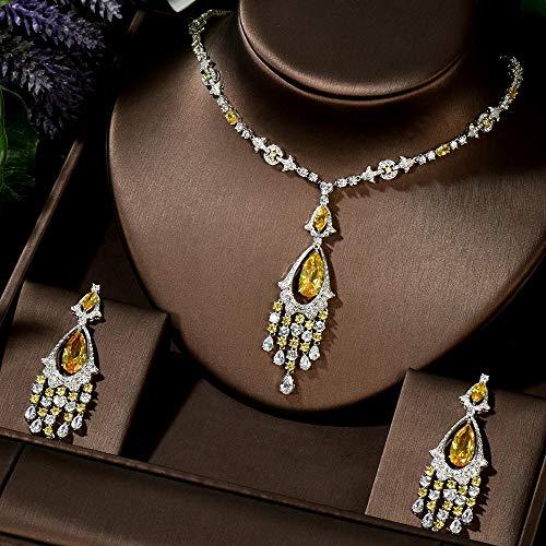 AMINIY Lujo Amarillo Cz Piedra Cuelga Caída Largo Tassel Aretes De Boda Collar Grande Vestido De Joyería De Bridal Conjuntos (Color : Green Color)