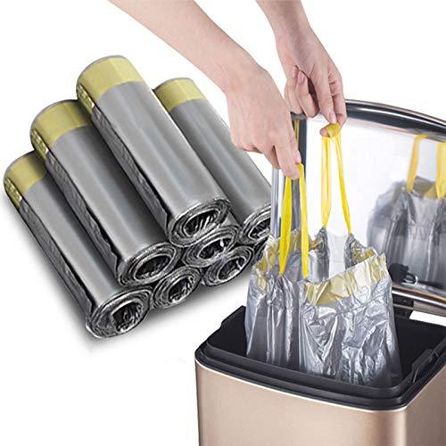 Madeb La Bolsa de Basura con cordón de es fácil de Usar, Limpia y se Puede Usar en Bolsas de Basura de Cocina y Bolsas de Basura Interiores, 12-15 litros, Plata, 75 Bolsas