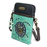 Chala Dazzled Crossbody Cell Phone Purse - Women Faux Leather Multicolor Handbag with Adjustable Strap - Turtle Turquoise